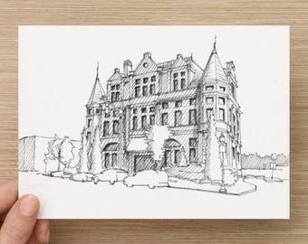 Ink Sketch of Police Station in Hamden, Baltimore, Maryland - Drawing, Art, Architecture, Historic, Brick Building, Pen and Ink, 5x7, 8x10