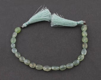 Valentines Day 1 Strand Green Chalcedony Silver Coated Faceted Center Drill Briolettes -Oval Shape Beads 6mm-8mm 8 Inch Sb3955