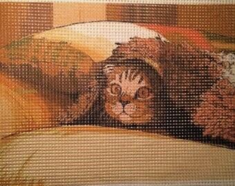 "Needlepoint canvas ""Cat-sofa"" # C12"
