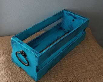 Western Style Wooden Crate with Antique Handles , Turquoise and Navy Blue