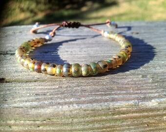 Boho Czech Glass Beads on Leather Bracelet