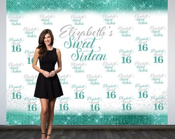 Sweet 16 Personalized Photo Backdrop -Aqua 16th Birthday Photo Backdrop- Step and Repeat Photo Backdrop, Silver Sweet 16 Photo Backdrop