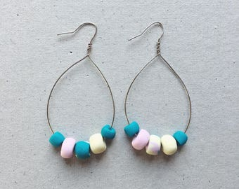 Tear drop clay beads hoop earrings