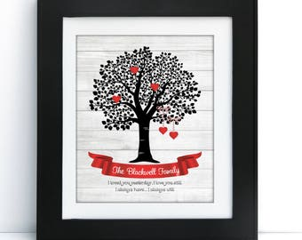 VALENTINES Personalized Family Tree Poster, DIGITAL FILE, Perfect Gift or Home Decor, 8x10 or 11x14, Printable, Colors Customizable
