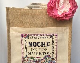 Sugar Skulls Hand Stitched Tote Bag. Skulls Dancers Hand Bag. Calaveras El Baile Shoulder Bag. Skulls Bailongo Tote Bag. Gift Friendly .