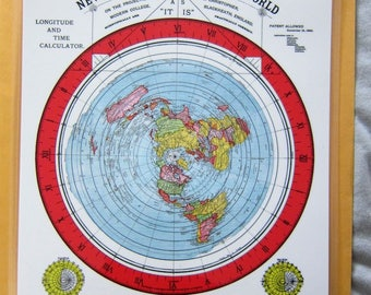 Laminated Small Flat Earth Air Age Azimuthal Equidistant Polar Projection Gleason's New Standard Map of the World