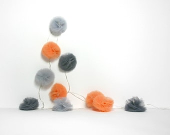 10 Led - Light string with tassels tulle Apricot and light and dark grey