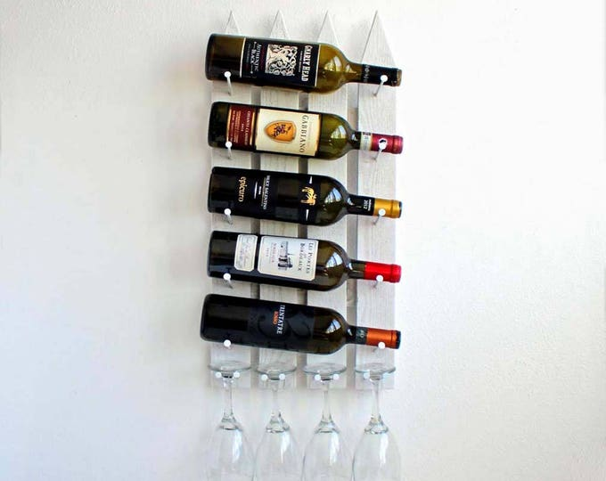 Unique Wall Mounted Wine Rack, Wood Wine Rack, Wine & Glasses Rack