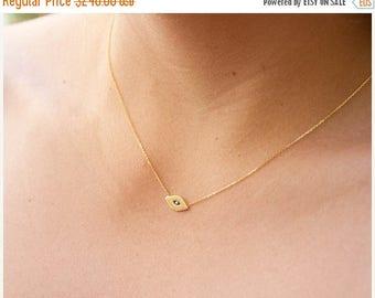 ON SALE 14k gold evil eye necklace