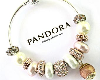 SALE Authentic Pandora Bangle, SPECIALLY PRICED, Sterling Silver, with exclusive mix of Non Branded Mixed Charms