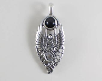 Sterling Silver Angel with Onyx Sphere Pendant