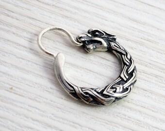 Wolf earring for men sterling silver