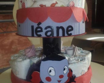 """Miss Ladybug"" diaper cake personalized"