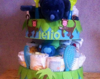"""The jungle monkeys"" diaper cake personalized"