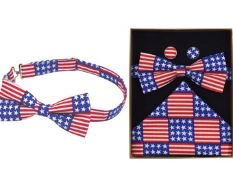 Stars & Stripes Bow Tie and Boxed Gift Set