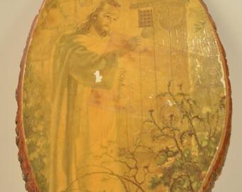 Vintage 1950s Jesus Religious Print Wood Wall Plaque Decor