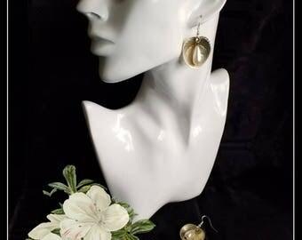 Handmade silver spoon and pearl dangle earrings