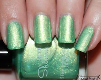 Nail Polish, Green Nail Polish, Gold Nail Polish, Indie Nail Polish, Indie Polish, Artisan Nail Polish, Indie Lacquer, Nail Lacquer, ~GLOW~