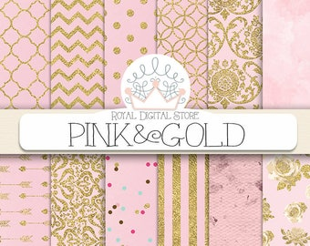 """Pink Digital Paper: """" Pink and Gold"""" with pink background, pink scrapbook paper, pink printable, pink and gold patterns with damask, chevron"""