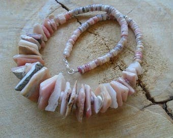 Pink Peruvian Opal Necklace and sterling silver / / nature jewelry