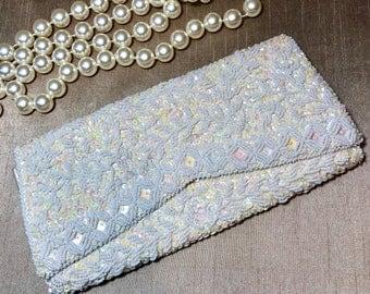 1960s White Beaded Clutch Purse La Regale Bride Wedding