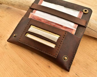 Brown leather tobacco pouch for rolling tobacco