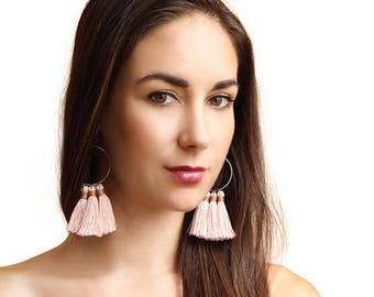 Blush Tassel Hoop Earrings/ Boho Jewelry/ Rose Tassel Hoop Earrings/ Hoop Earrings/ Silver Hoops/ Chains by Lauren/ Boho Tassel Hoops