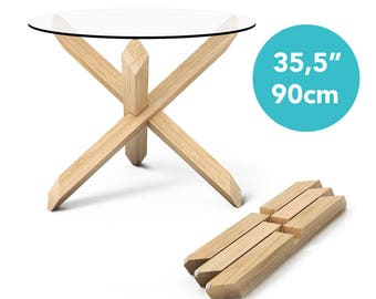 "1x3 Round Dining Table with 35,5"" (90cm) top - Puzzle- Wooden Dining Table - Wooden Kitchen Table - Round Kitchen Table - Glass Dining Table"