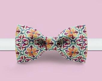 Floral bowtie -Colorful Bowtie - Wedding bowtie - Warm Series - Adjustable Bowtie