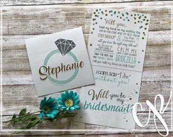 Bridesmaid proposal card | Bridesmaids gifts | Maid of honor proposal | Personalized bridesmaid cards | Flower girl | Printed