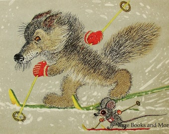 Wolf Mouse Skiers Competition - Illustrator A. Golubev - Vintage Soviet Postcard, 1966. Skiing Winter Olympics Animals Art Print