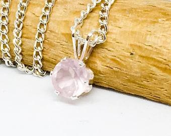 Rose Quartz dainty pendant, 6mm gemstone necklace, sterling silver
