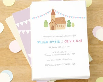 Personalised Twin's Christening Invitations (more colours available) -- Minimum order 8
