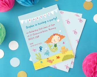 Personalised Girl's Mermaid Invitations (choose the hair colour) -- Minimum order 8