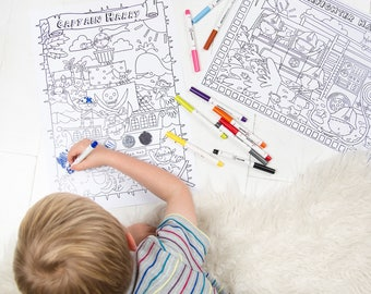 Personalised Boy's Colouring Poster Set