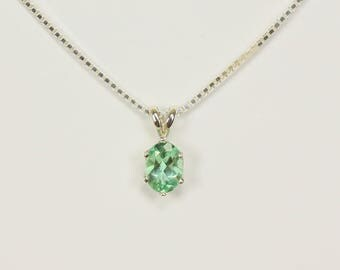 Natural Colombian Emerald Pendant in Sterling Silver