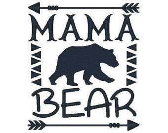 Mama Bear Machine Embroidery Designs Bear Embroidery Design Country Embroidery Filled Stitch Animal Design Instant Download
