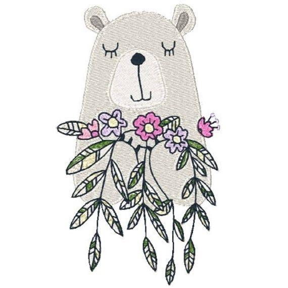 Beary nice machine embroidery design bear