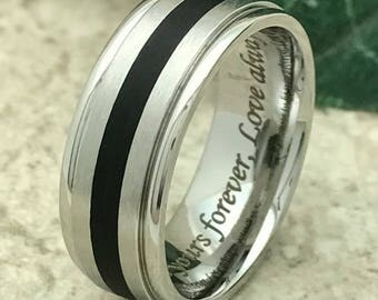 7.5mm Stainless Steel Ring, Personalize Custom Engrave Wedding Ring, Men's Wedding Ring, Promise Ring, Father's Day Gift-SSR125