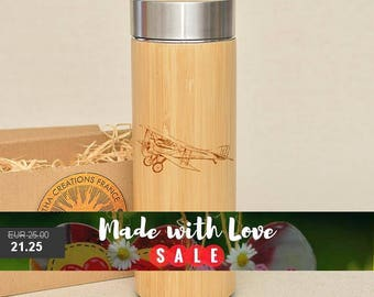 Original Bamboo Thermos Wooden Flask 380 ml Engraved Wood PLANE Stainless Steel with Screw Lid