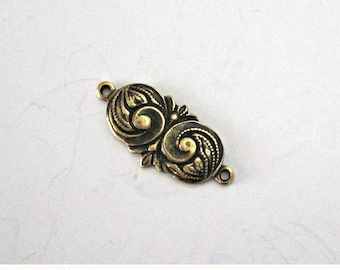 ON SALE Oxidized Brass Art Nouveau Stamping Brass Connector Art Nouveau Findings Brass Connector Brass Jewelry Supplies 16mm (1 pc) 11V5