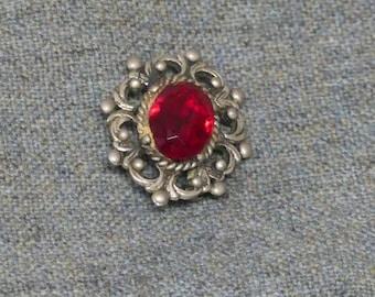 Ruby Red Vintage Costume Brooch