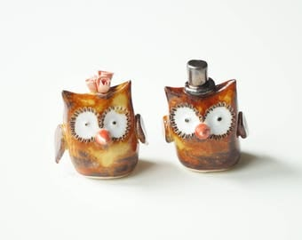 ceramic owl wedding cake toppers and groom owls etsy 12489