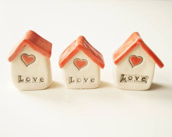 Little House, Miniature Ceramic Houses, Set of 3, Miniature Home, Tiny House, Ceramics and Pottery