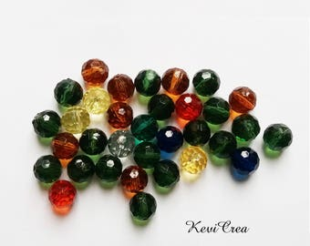 33 x round acrylic faceted beads 12mm mixed colors