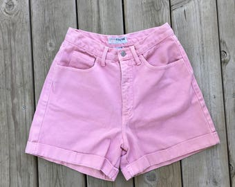 Guess High Waisted Shorts 80s 90s  Pink Denim