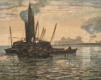 The Herring Market At Sea by Colin Hunter Loch Fyne Scotland Antique Print Engraving 1884