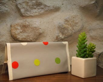 Checkbook holder and pen in multicolored dots oilcloth