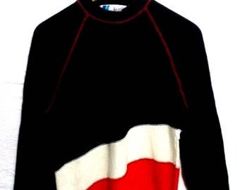 30% OFF Rare..!!! Vintage Arrow Japan Colour Block Multicolour Striped Embroidery Spell Out Big Logo  Sweatshirts