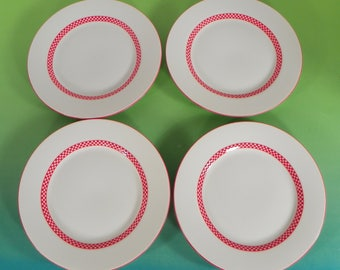 Fitz & and Floyd CHEQUERS Salad Plate (s) LOT OF 4 Japan Red Checkers